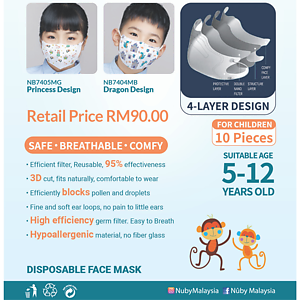 Nuby 4 ply Face Mask (Princess Design)